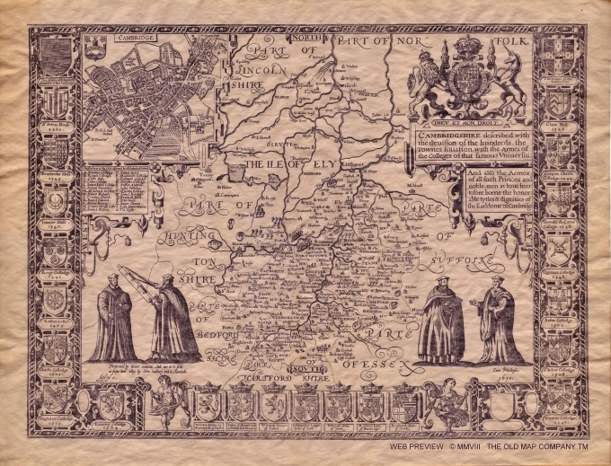 John Speed 1610 Map of Cambridgeshire
