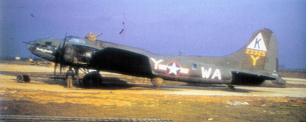 "B-17F at RAF Kimbolton.  Note the ""Triangle K"" tail marking.  U.S. National Archives; this image or file is a work of a U.S. Air Force Airman or employee, taken or made as part of that person's official duties. As a work of the U.S. federal government, the image or file is in the public domain."
