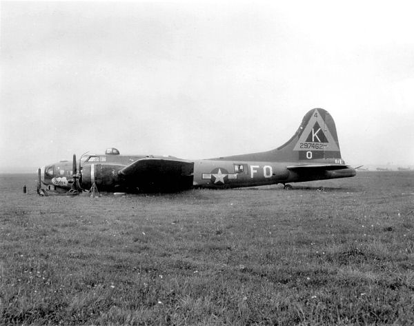 A B-17F belly landed at RAF Kimbolton.  An amazing testament to the rugged airframe, this B-17 was repaired and returned to a flying status. U.S. National Archives, This image or file is a work of a U.S. Air Force Airman or employee, taken or made as part of that person's official duties. As a work of the U.S. federal government, the image or file is in the public domain.