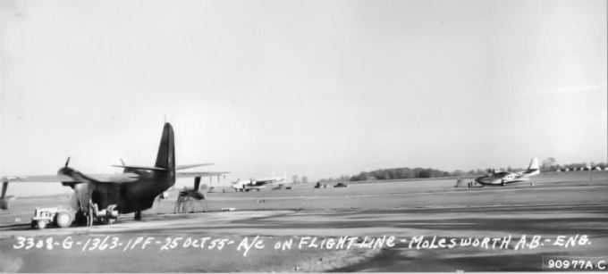 25 October 1955: HU-16 Albatross of the 582nd Air Resupply Group at RAF Molesworth. This image or file is a work of a U.S. Air Force Airman or employee, taken or made as part of that person's official duties. As a work of the U.S. federal government, the image or file is in the public domain.
