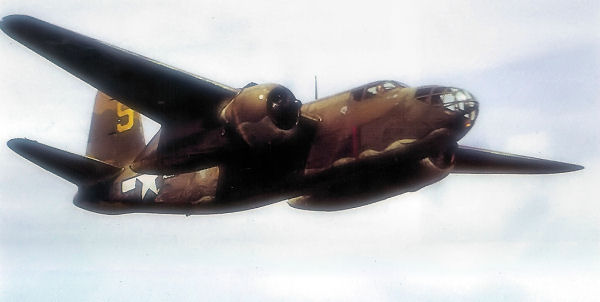 "This Douglas A-20C HAVOC/BOSTON III, serial number AL672, was flown on the 4 July 1942 low-level attack against Luftwaffe positions in the Netherlands at the time part of the 15th Bombardment Squadron (light).  This photograph was taken later in the war when AL672 was flying as a staff communications aircraft for the 8th USAAF out of RAF Bovingdon.  Photograph from the U.S. Army Air Forces via the National Arcives.  Thanks to Roger Freeman: ""The Mighty Eighth, the Colour Record"" 1991."
