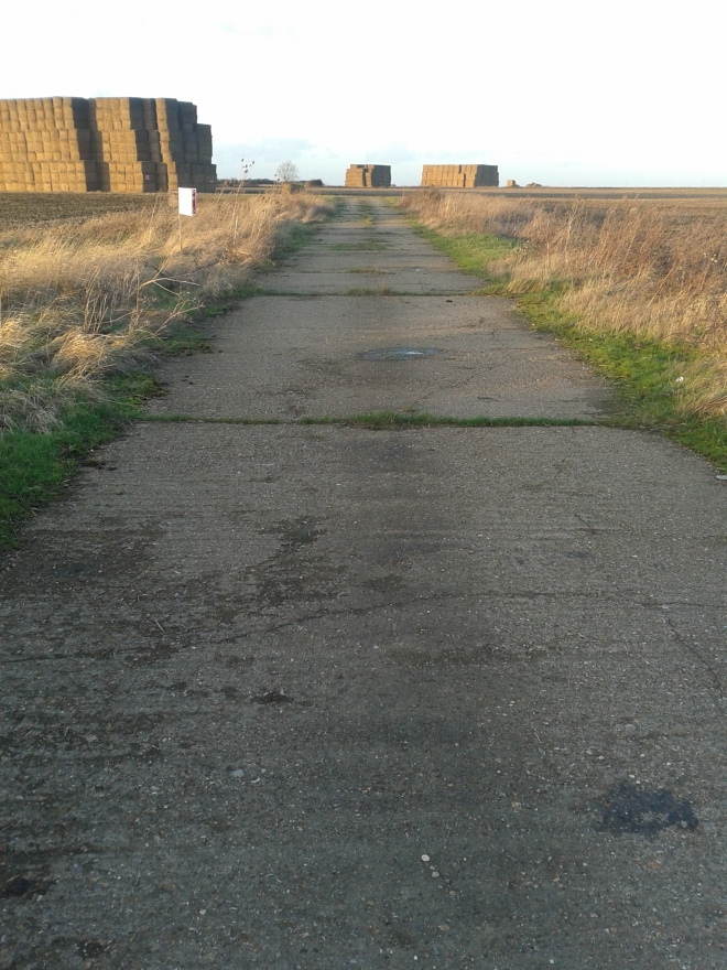 One of the concrete tarmacs of RAF Kimbolton today: broken concrete stretching towards where the control tower once stood, now all farmland. © Brandon Wilgus, 2014.
