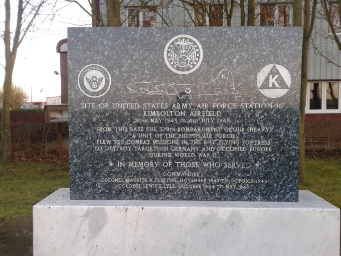 The 379th Bomb Group (H) memorial, located on the southeast corner of where RAF Kimbolton once stood.  Of note, a book of honor stands next to the memorial listing the names of the men who died for their nation, and for the freedom of others, who flew from RAF Kimbolton. © Brandon Wilgus, 2014.