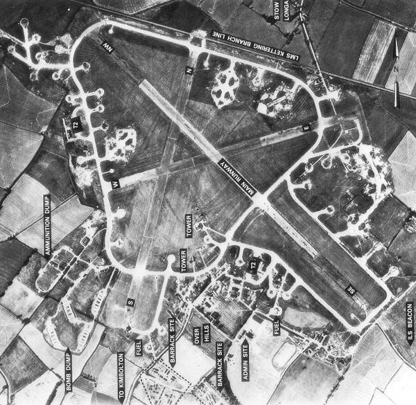 RAF Kimbolton on 10 August 1945.  The village of Stow Longa is just visible on the top of the aerial photograph. The village of Kimbolton is to the south. This artistic work created by the United Kingdom Government is in the public domain.