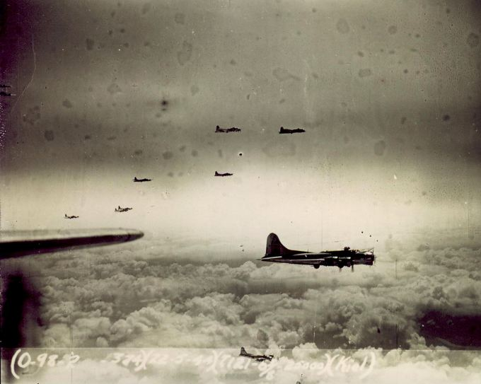22 May 1944: 303rd B-17s on a bombing mission to Kiel, Germany taken at 25,000 feet.  Photo from the Peter M. Curry Collection.