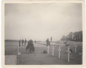The photo of the temporary use of the land that would become the Cambridge American Cemetery.  Probably 1944 or early 1945.  Unknown photographer.