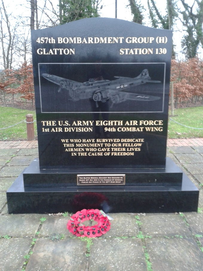 The 457th Bomb Group (H) Memorial, dedicated to the men who flew from RAF Glatton during the Second World War. © Brandon Wilgus, 2015.