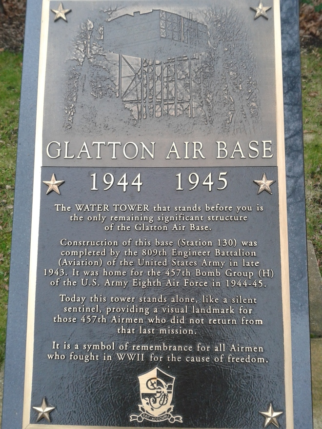 A marker placed at the foot of the watertower, which is a moving remembrance to the men who paid the ultimate sacrifice flying from RAF Glatton in the Second World War.  © Brandon Wilgus, 2015.