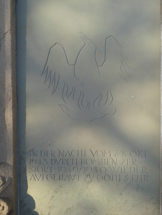 The memorial stone on the rebuilt nave of the protestant church in Boblingen. © Brandon Wilgus, 2015.