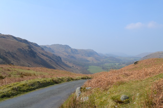 Hardknott Pass, the Lake District, Cumbria.  The single-track B-road which crosses from the Eskdale Valley to Windermere is the access point to the Roman ruins. © Brandon Wilgus, 2015.