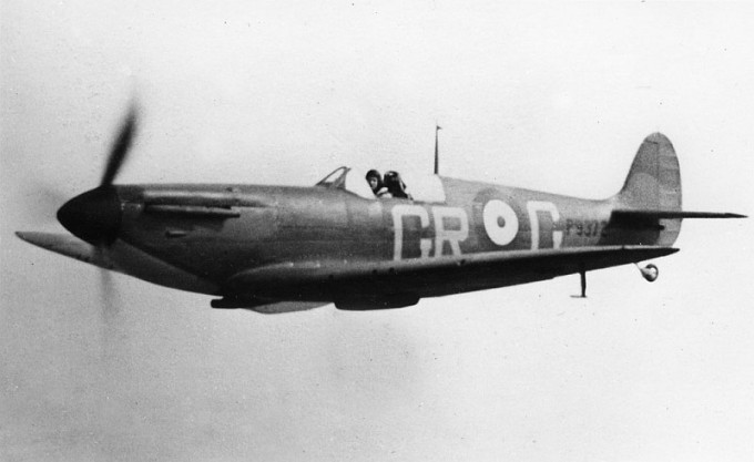 One of her sister aircraft, MK1 Supermarine Spitfire P9372. An early photo of a No. 92 Squadron Spitfire Mk1, The GR codes date it to the Spring of 1940 and the lack of an armour plated windscreen dates it to before the evacuation of Dunkirk. P9372 was shot down over Rye in September 1940. The wreck was recovered and much of the aeroplane is on display at Biggin Hill Heritage Hangar.  Unknown Photographer.